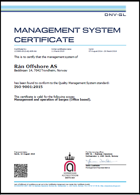 Rán Offshore AS-DNV GL ISO 9001-2015 Certificate_valid 28.03.19