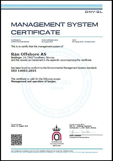 Rán Offshore AS - DNV Gl ISO 14001-2015 Certificate_valid 280919