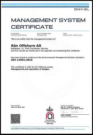 Rán Offshore AS - DNV Gl ISO 14001-2015 Certificate_valid 280324